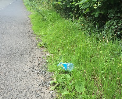 Single use plastic bottle litter
